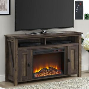 Image Is Loading New Rustic Wood 2 Barn Door Electric Fireplace