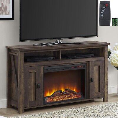 New Rustic Wood 2 Barn Door Electric Fireplace 50 Quot Tv