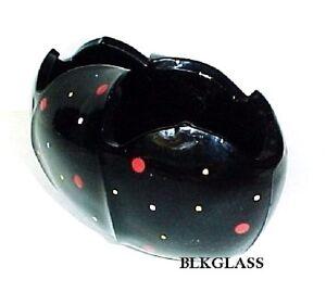 Bagley-Glass-English-Black-Glass-Tulip-Bowl-Vase-Posey-Red-039-n-White-Polka-Dots