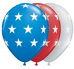 4th-OF-JULY-BALLOONS-10-x-11-034-QUALATEX-RED-BLUE-amp-CLEAR-BIG-STARS-LATEX-BALLOONS