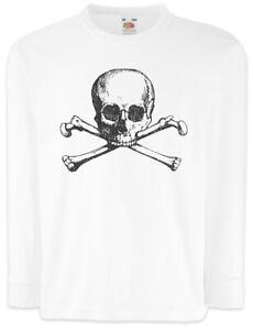 Skull-amp-Crossbones-II-Kinder-Langarm-T-Shirt-Totenkopf-und-gekreuzte-Knochen