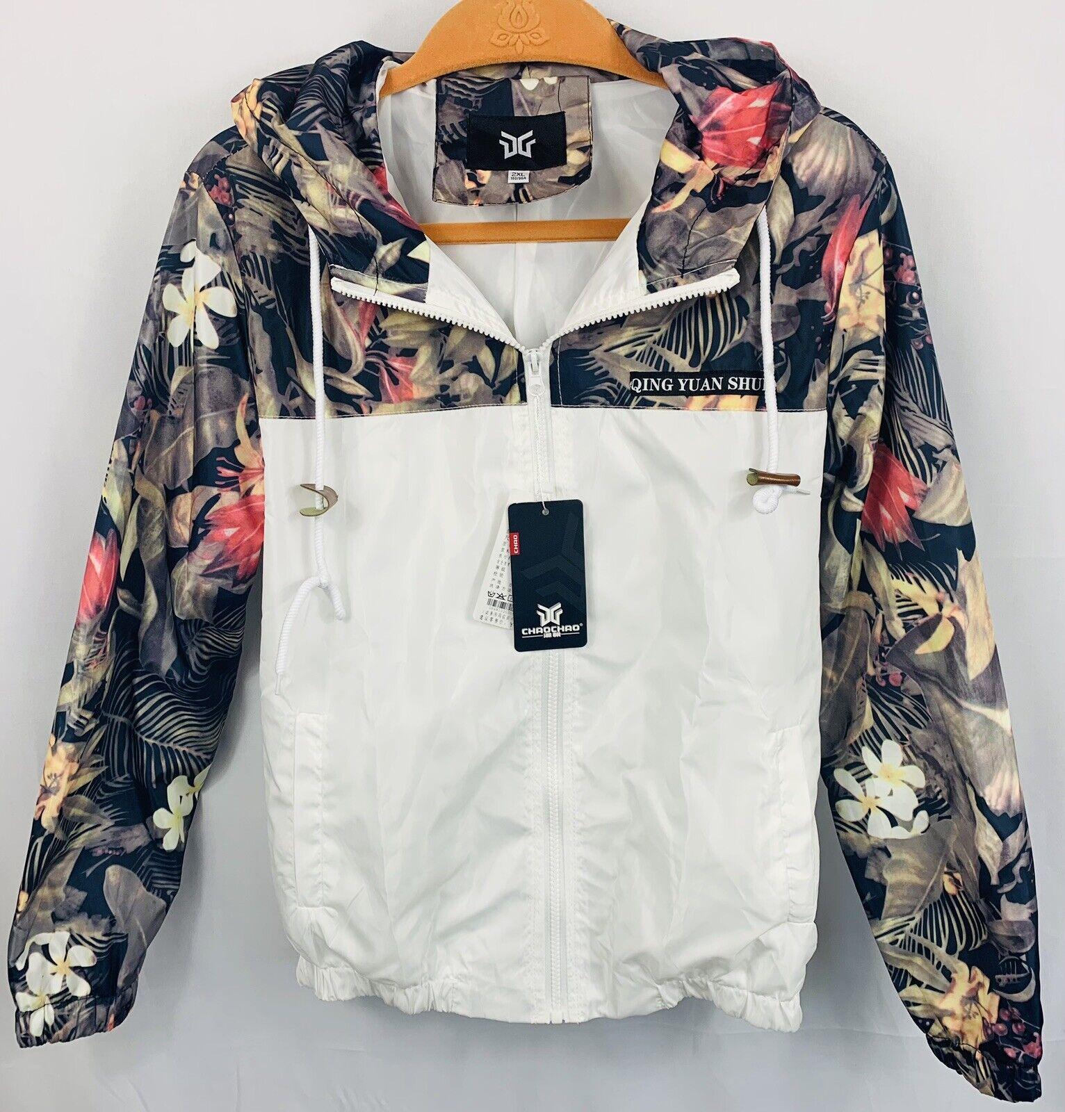 NWTQing Yuan Shui Windbreaker Jacket Floral & White Youth 2XL or WOMENS Sz Small