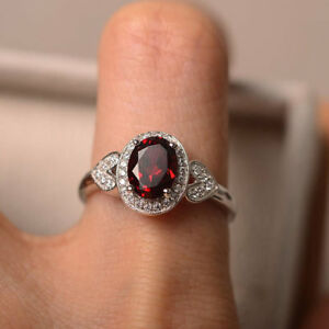 14K-Solid-White-Gold-1-65-Ct-Natural-Garnet-Engagement-Diamond-Ring-Size-K-L