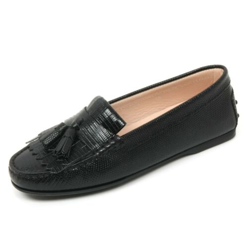 B9630 mocassino donna TOD/'S scarpa frangia nappine nero loafer shoe woman
