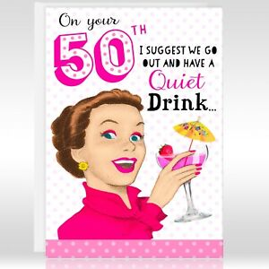 Image Is Loading 50TH FEMALE Birthday Greetings Card Funny Humour Joke