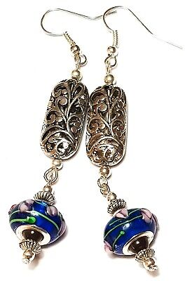 Long Silver Polka Dot Blue Earrings Drop Dangle Spotted Glass Beads Pierced