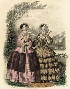 Le-moniteur-de-la-mode-Promenade-Lac-Gravure-ancienne-originale