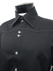 RARE-PARC-81-black-embroidered-trim-casual-dress-shirt-M-15-5-16-mens-L-S-530