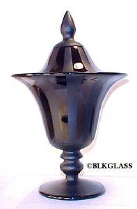 Tiffin-Black-Glass-Satin-Shiny-Ribbon-Stripe-No-15179-Bon-Bon-Lidded-Candy-Jar