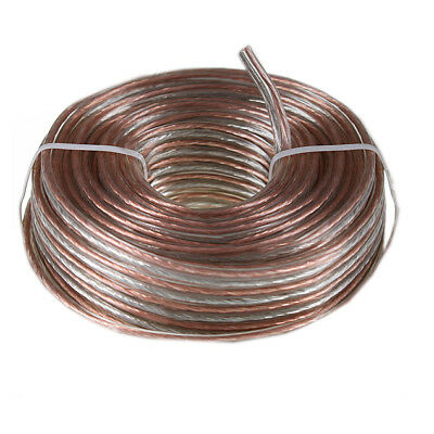100 Feet 16 Awg Gauge Audio Speaker Wire Cable Car Home Clear High Quality