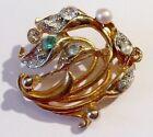 broche bijou rétro vintage perle cristal diamant couleur or 2311