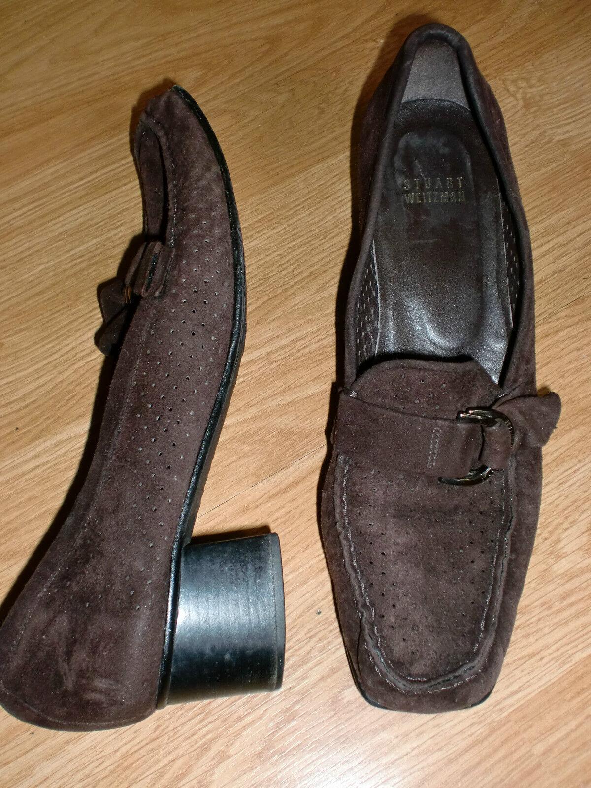 STUART Suede WEITZMAN 8.5 M Brown Suede STUART Loafer Heels Metal Hardware 0b6422