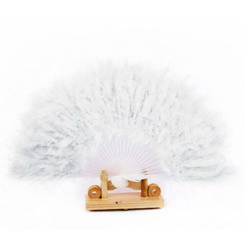 Wedding Dance Elegant Large Feather Folding Hand Fan Performance Decal