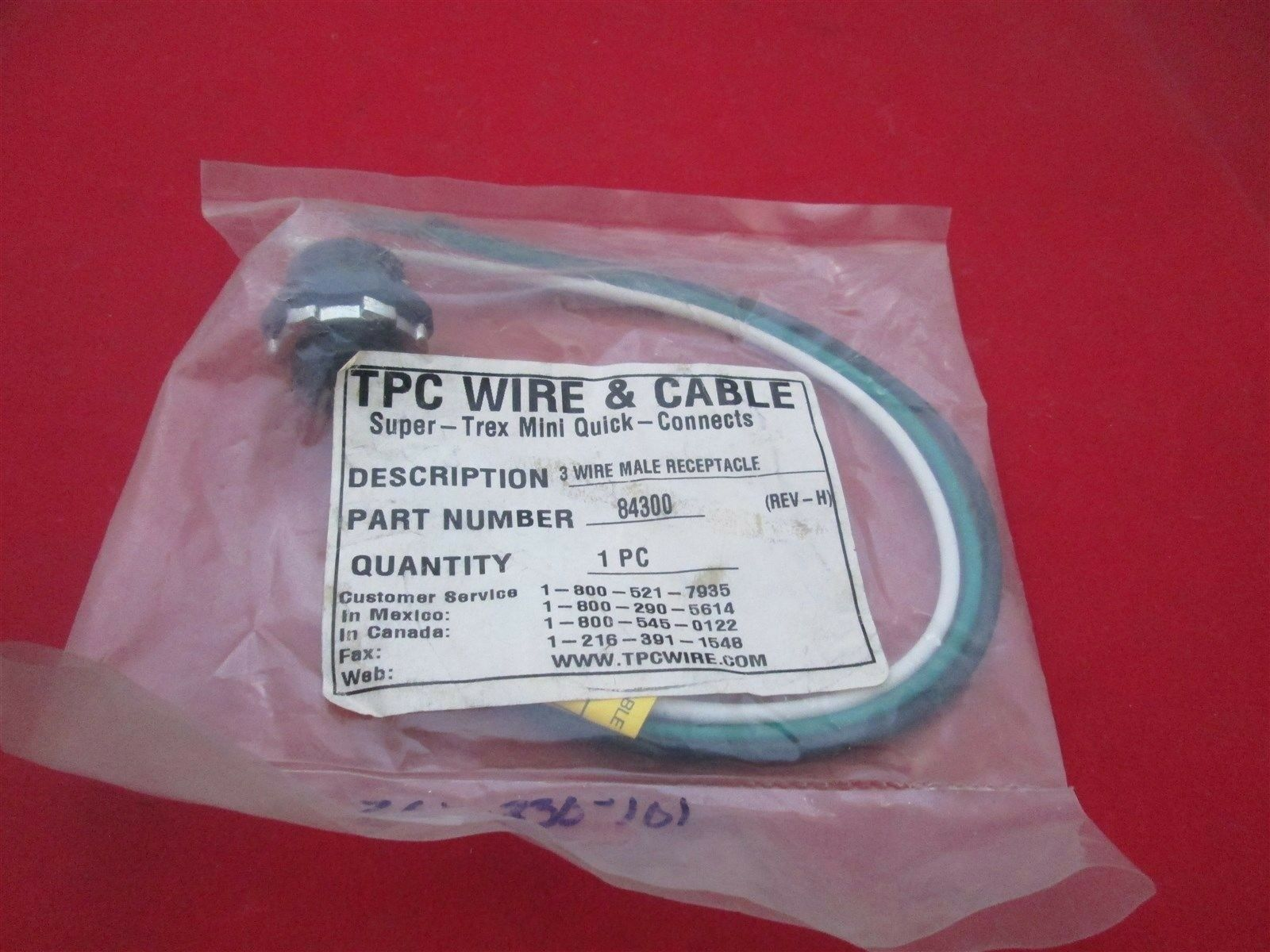 TPC Wire & Cable 3 Wire Male Receptacle 84300