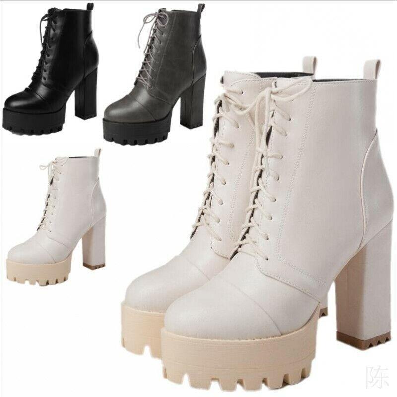 Damen Punk Schuhe Schnürer Blockabsatz Platform Reitstiefel Freizeit Ankle Stiefel