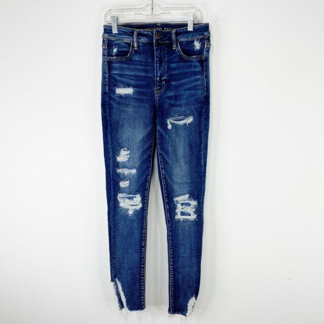 American Eagle Size 6 Super Hi Rise Jegging Jeans Distressed Denim Blue