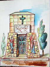 Acquerello '900 su carta Watercolor Architettura futurista cubista razionale-43