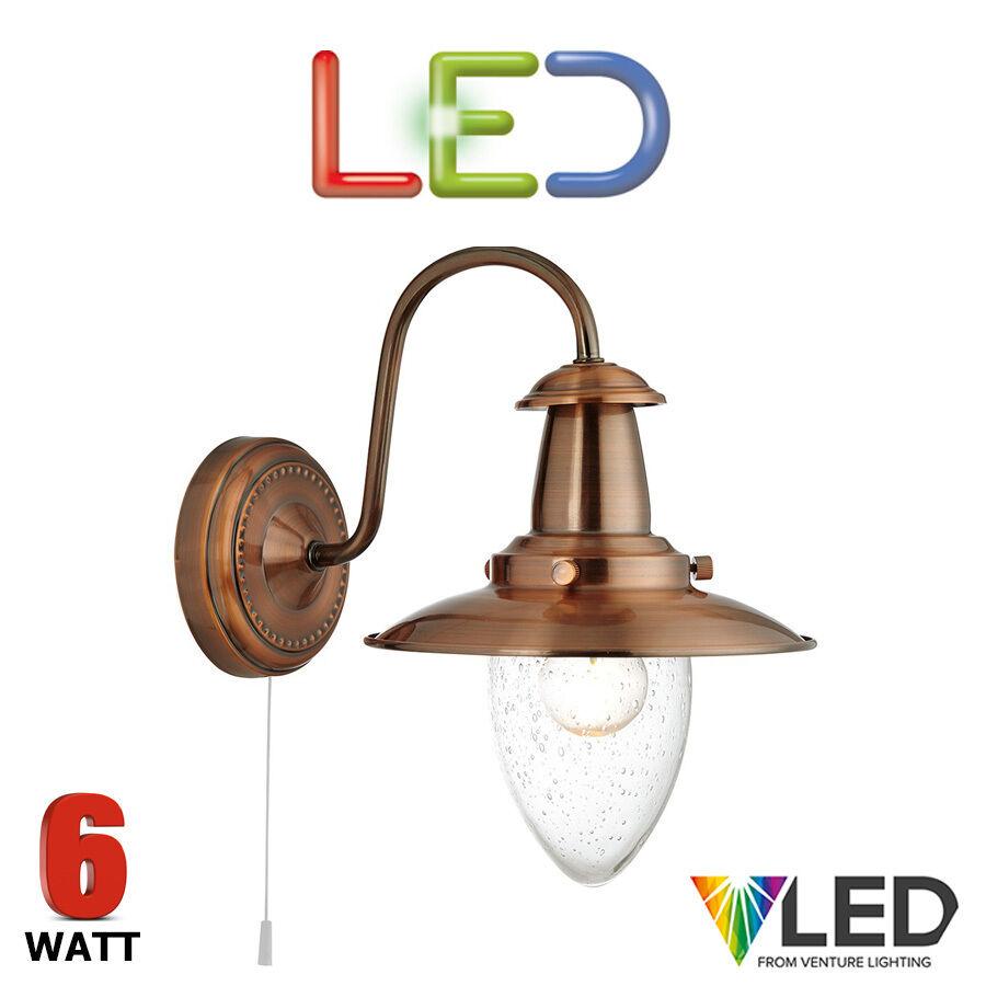 Searchlight PESCATORE LED muro luce 5331-1 rame 6 watt vetro predefiniti COLLO CIGNO
