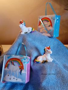 Cute Collectable Mini Rainbow Unicorn Figurine in Gift Bag Ornament Shelf Sitter