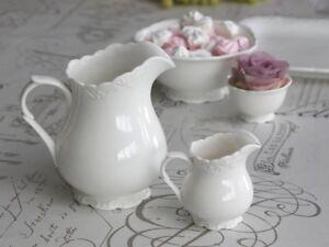 Chic-Antique-Krug-Kanne-f-1-Liter-Provence-Porzellan-weiss-Vintage-Shabby