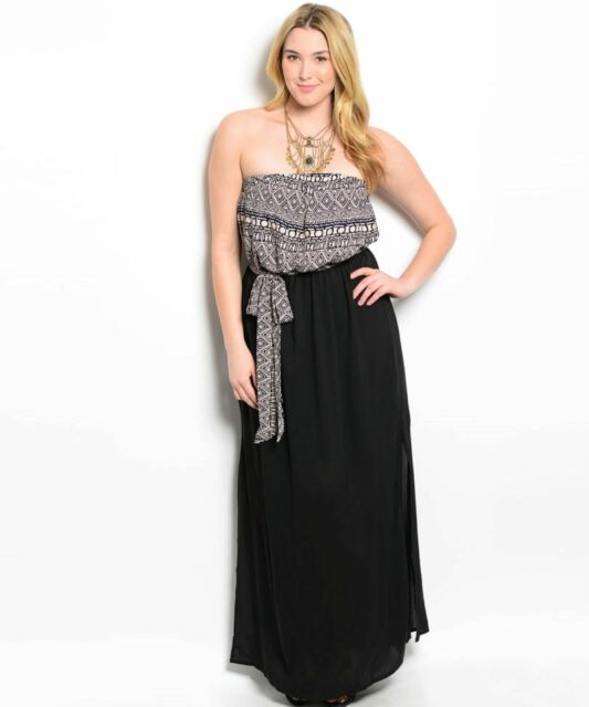 Sexy Strapless Black Party Cruise Maxi Dress/Taupe Tribal Print Top XL 2X or 3XL