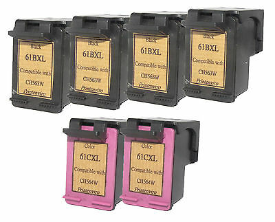 6x Refilled Ink Cartridges for HP 61XL 4 Black CH563W 2 Color CH564W NEW GEN