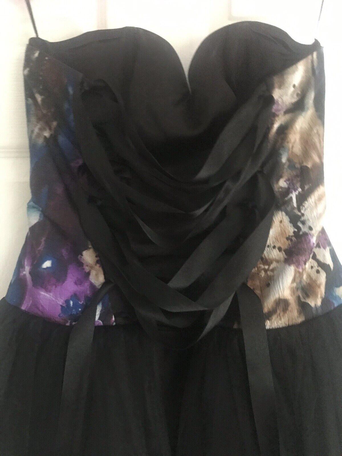 schwarz w lila Blau Blau Blau Floral Strapless Boned Bodice Fishtail Net Party Prom Dress 5d2cf6