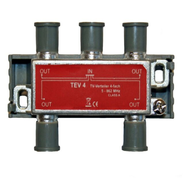 SAT/TV Verteiler TEV4 4-Fach 5-862 MHz mit Befestigungsmaterial Class A