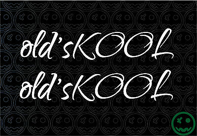 2X OLD'SKOOL OLD SCHOOL SCRIPT 170mmW Stickers Car Truck DUB Skate Kombi MAc