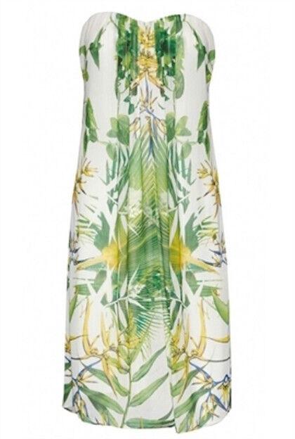 Alice + olivia Strapless Palm Tree Print Dress SZ N A = Fits XS - S - Worn-once