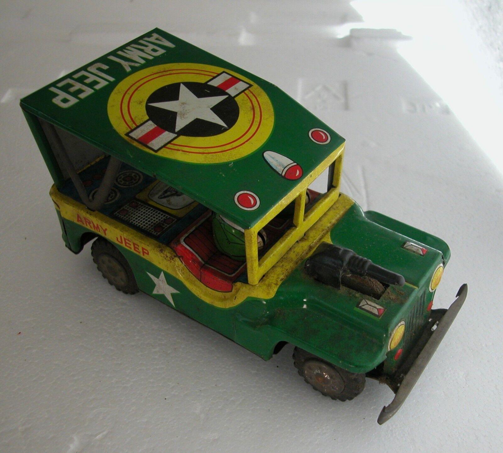 A Scarce Vintage 1950's Tin Friction Army Jeep Toy Produced By  Yonezawa Japan