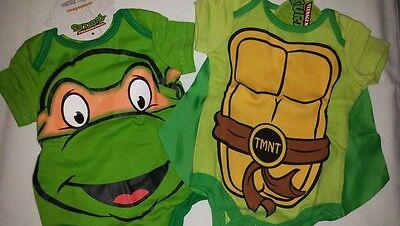 NWT 2 New Newborn Baby TMNT Ninja Turtles One Piece with Turtle Shell Cape Sz NB