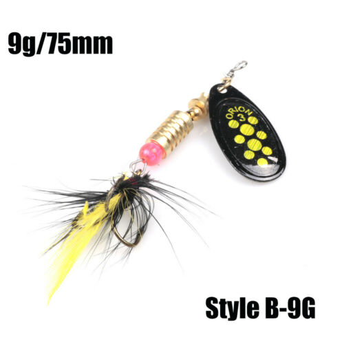 1Pc New Sequins Durable Metal Treble Hook Crank Bait Fishing Lure Spoon Spinner