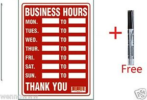 "2 Pcs 9 x 12 Inch Plastic "" Business Hours"" Sign with a  Free Erasable Marker"