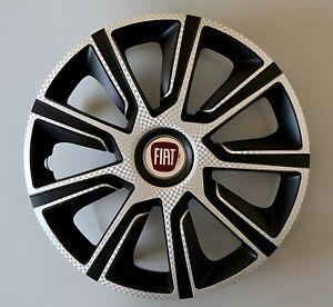 """FIAT.. BLACK /& SILVER Set di 4 x 16/"""" Copricerchi//coperchi quantità 4 tappi"""