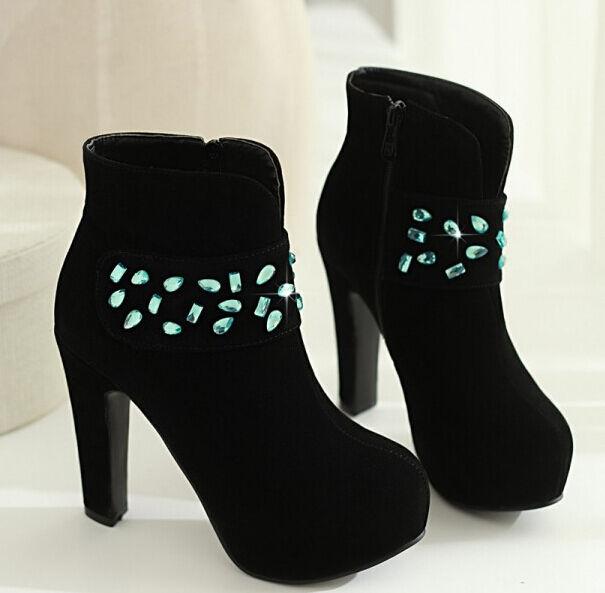 botas zapatos de mujer en cm negro rhinestone talón 12 cm en como piel cómodo c 149 071bd5