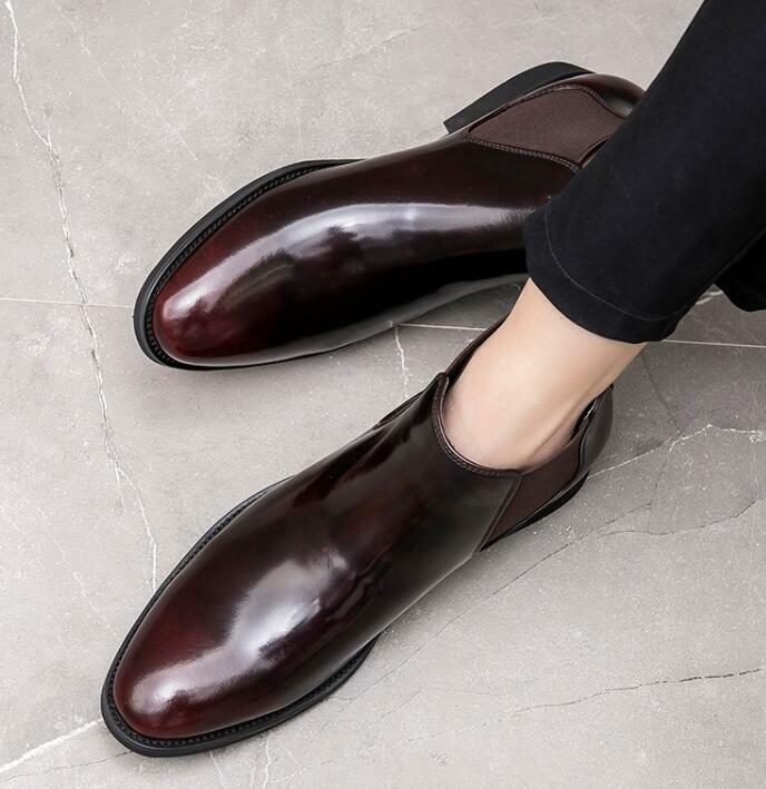 Herrenschuhe Schlupf Formell Business Abend Club Echtleder Chelsea Ankle Stiefel
