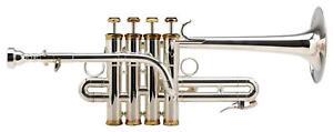 Piccolotrompete-Silber-Piccolo-Trompete-Blechblasinstrument-mit-Mundstueck-Koffer