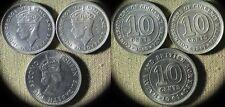 Malaya :3 Coins 10 Ct 1941+1943 CH.AU-UNC1961 Gem BU  #4#4a#2  IR5313