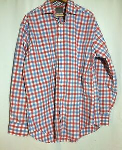 Thomas-Dean-Mens-Long-Sleeve-Button-Front-Shirt-Red-White-Blue-Size-XL