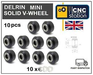 Mini-Delrin-Solid-V-Wheel-C-beam-V-Slot-Extrusion-Profile-Rail-3D-Printer-CNC-UK