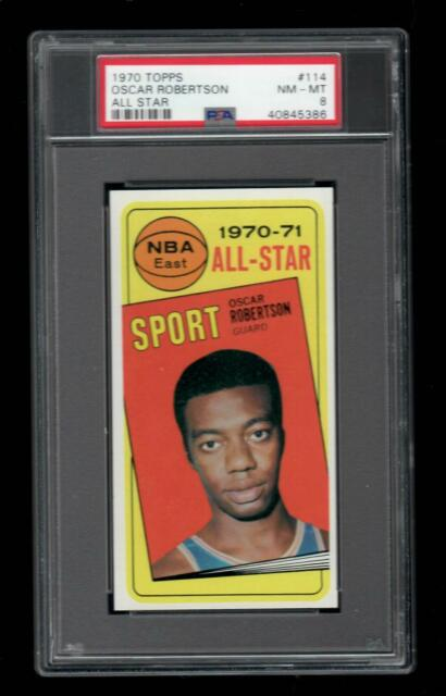 1970 Topps BKB Card #114 Oscar Robertson Milwaukee Bucks ALL-STAR PSA NM-MT 8 !!