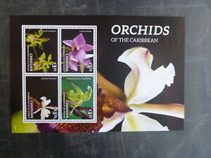 2014-CANOUAN-ORCHIDS-OF-THE-CARIBBEAN-4-STAMP-MINI-SHEET-MNH