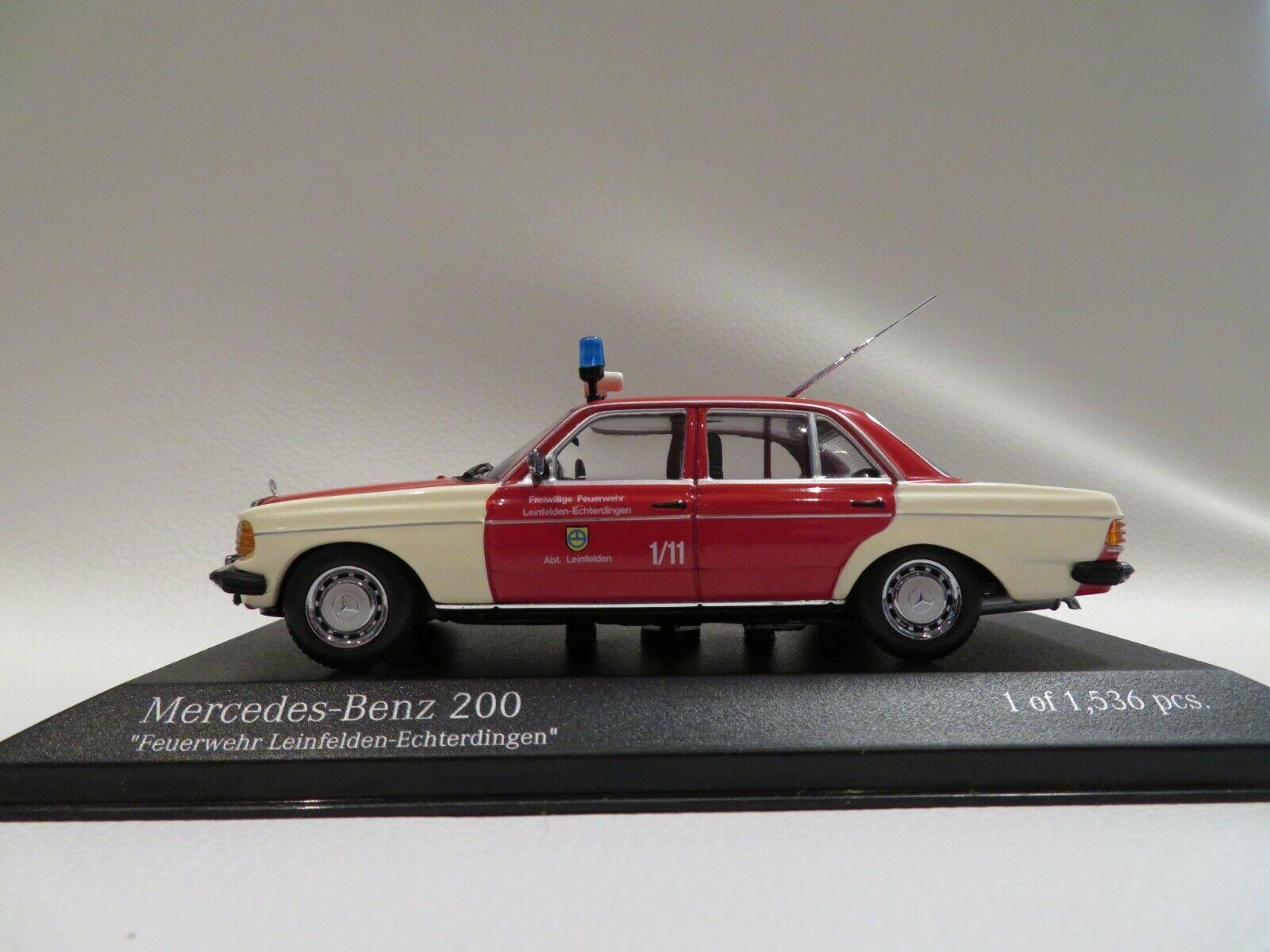 1 43 Minichamps Mercedes Benz 200 Feuerwehr Leinfelden-Echterdingen Diecast
