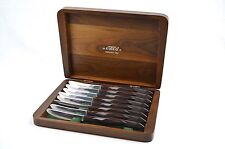 8 Cutco Stainless Steel Steak Knives Brown Handles #1759 D82 with Wood Case