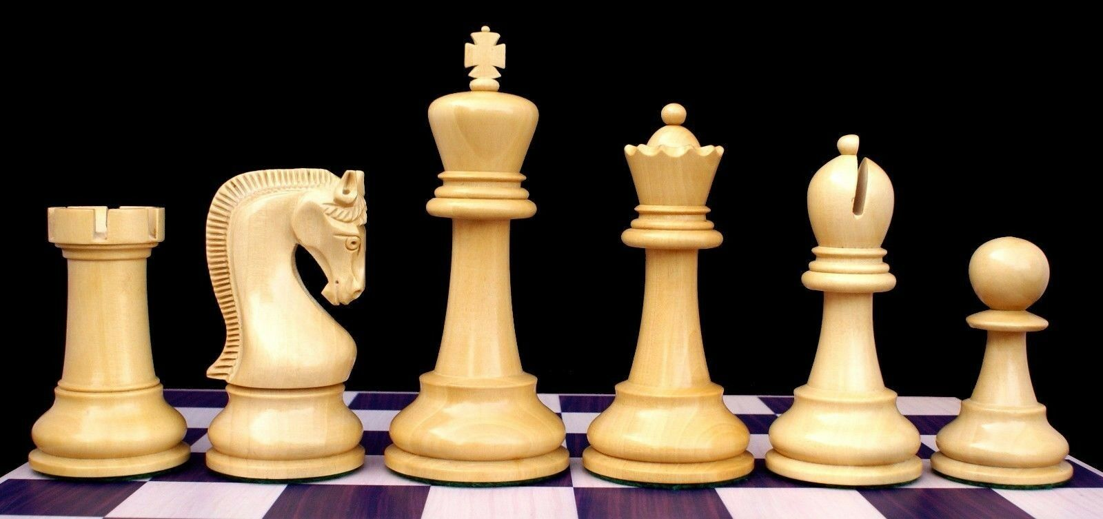 Leningrade Series Premium Staunton 4  Chessmen in Ebonised & Box Wood
