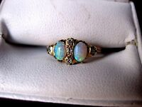 ANTIQUE VICTORIAN 14K ROSE GOLD RING: NATURAL OPALS & DIAMONDS,late 19 c.