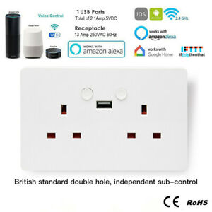 Details about UK-Plug Smart WiFi Wall Socket Dual USB APP Outlet For Amazon  Alexa Google Home