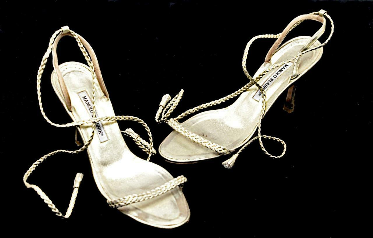 MANOLO BLAHNIK Pale gold Braided Leather Heels with Tie Ankle Strap  Sz 37