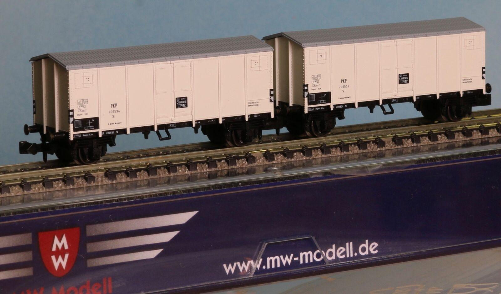 MW-Modell N-EU-403.2 , Spur N, 2er Set PKP  ex FS Spitzdachgüterwagen, Ep.3